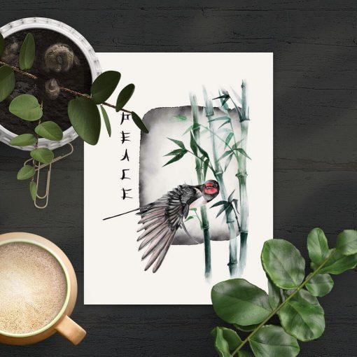 Plakat peace i ptaszek