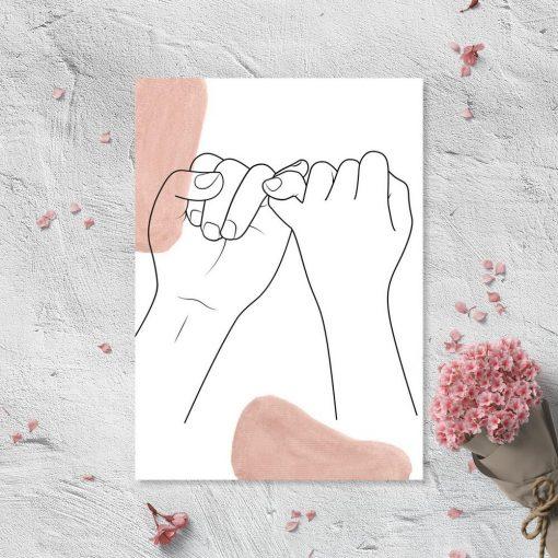 Plakat ręce line art - one color