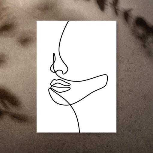 Plakat szkic twarzy w ascetycznym stylu