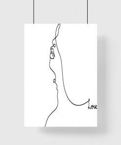 Plakat twarz kobiety i napis w czarno-białych barwach