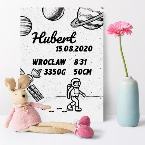 Plakat z danymi urodzeniowymi dziecka - plakietka dziecka