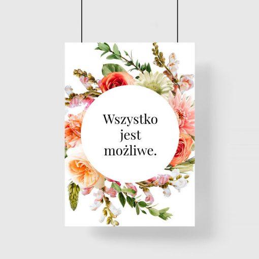 Plakat z maksymą - wszystko jest możliwe do dekoracji pokoju nastolatka