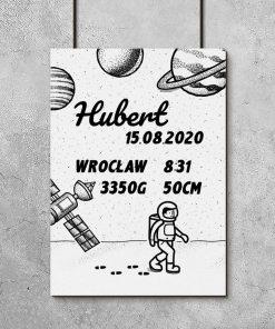 Plakat z metryczką dziecka i astronautą