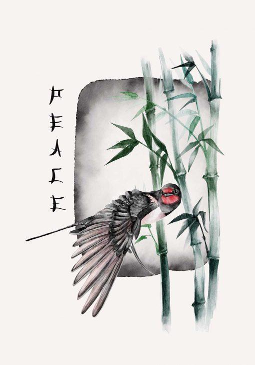 Plakat z ptakiem i bambusem do oprawienia