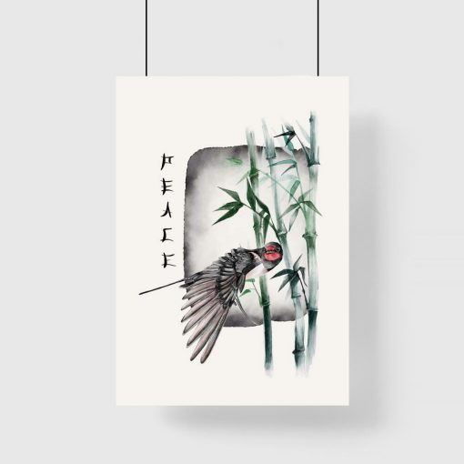 Plakat z ptakiem w kolorze zieleni
