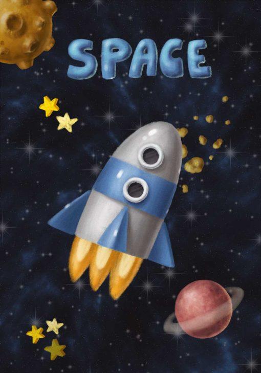 Plakat z rakietą w kosmosie