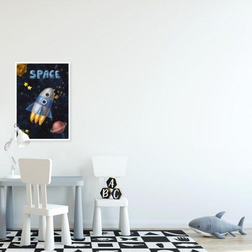 Plakat z rakietą w przestrzeni kosmicznej