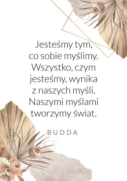 Plakat z tekstem o tworzeniu świata - Budda