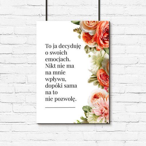 Romantyczny plakat z sentencją i kwiatami