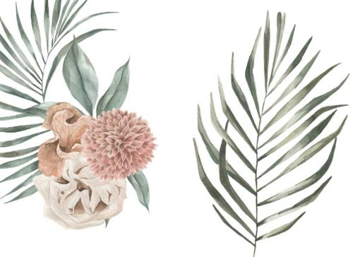 Zielony dyptyk plakatowy z roślinami