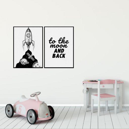 Dyptyk plakatowy dla dzieci z rakietą