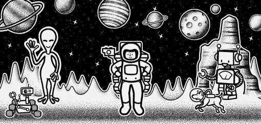 Komplet plakatów z kosmitami