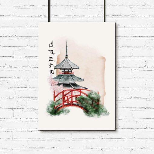 Plakat japoński ogród do oprawienia w ramę