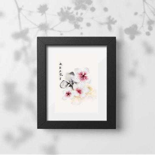 Plakat kwiaty wiśni do oprawienia