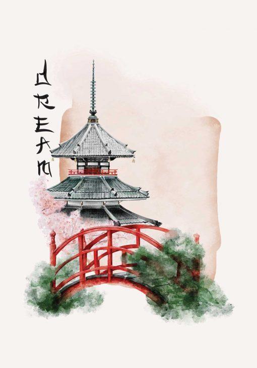 Plakat w motywem pagody oraz napisu: dream do oprawienia