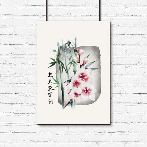 Plakat z bambusem do powieszenia w salonie