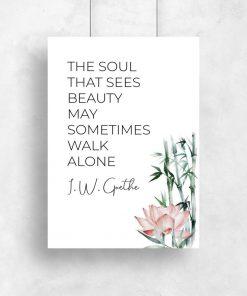 Plakat z cytatem Goethe i kwiatami