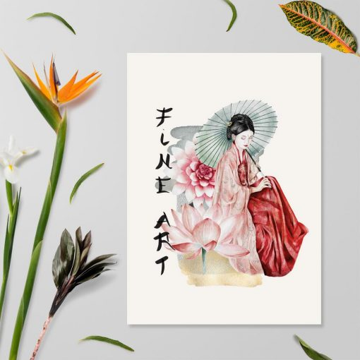 Plakat z gejszą i kwiatem lotosu