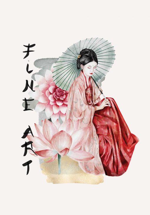 Plakat z japońską kobietą