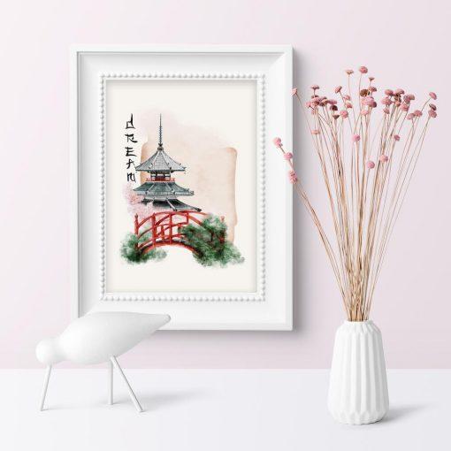 Plakat z japońskim mostkiem w ogrodzie bez ramy