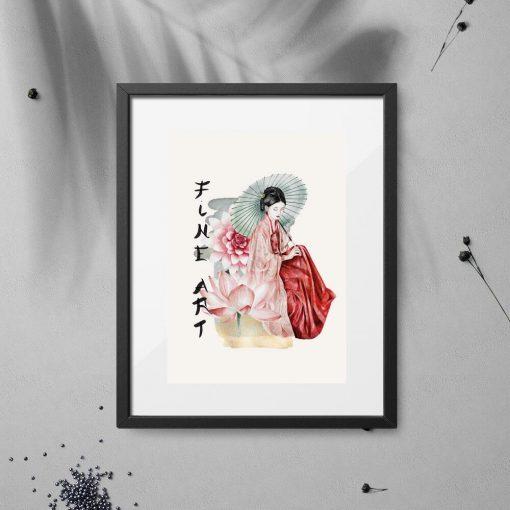 Plakat z japońskim motywem gejszy