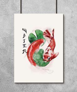 Plakat z japońskimi karpiami