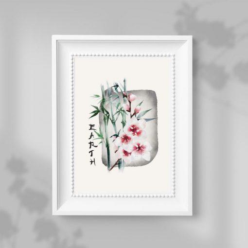 Plakat z kwiatem wiśni do dekoracji sypialni