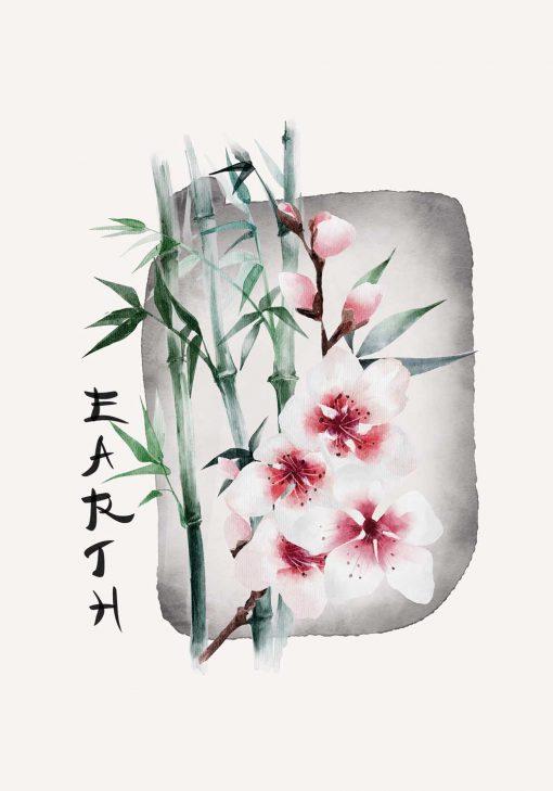 Plakat z kwiatem wiśni i napisem: earth do dekoracji sypialni
