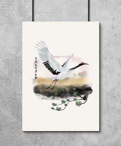 Plakat z motywem żurawia i sosny