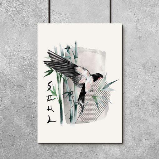 Plakat z napisem i ptaszkiem bez ramy