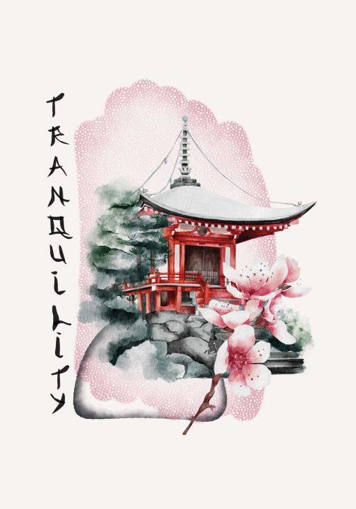 Plakat z pagodą i napisem: tranquility w różowym kolorze