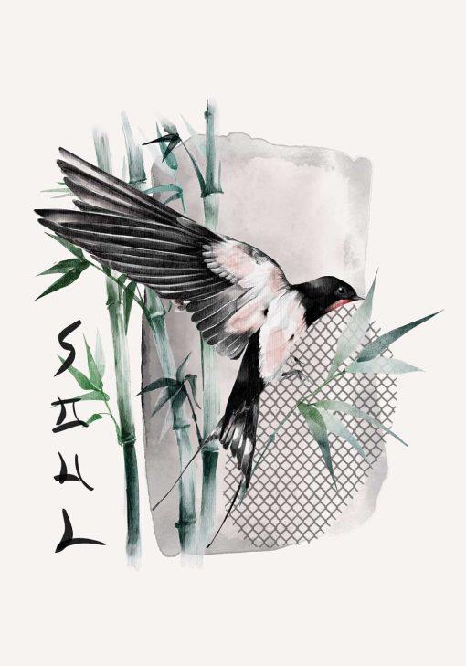 Plakat z ptaszkiem i bambusem do oprawienia