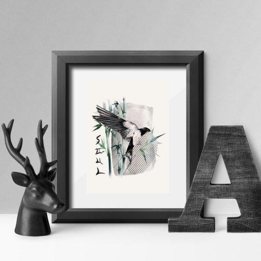 Plakat z ptaszkiem i napisem: soul bez ramy