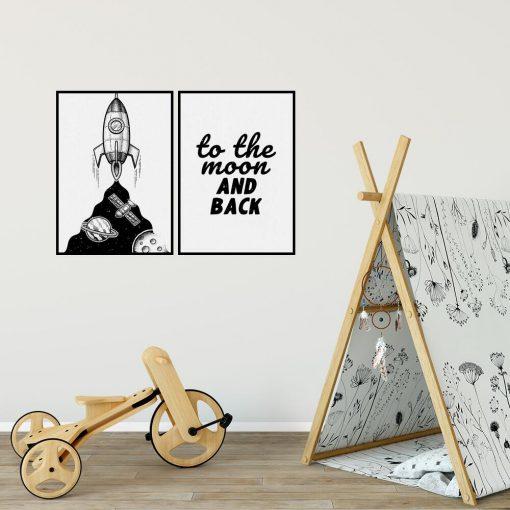 Plakaty dla dzieci z rakietą i dewizą