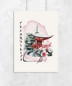 Plakaty z azjatycką świątynią do oprawienia