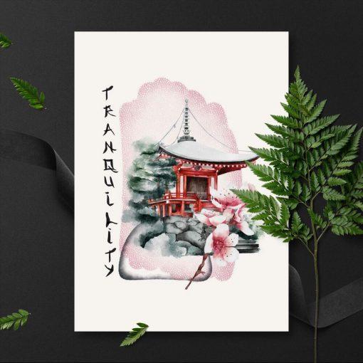 Plakaty z kulturą wschodu w różowych barwach