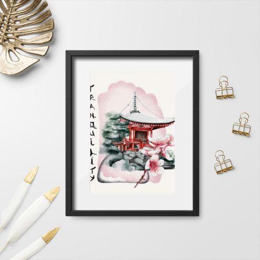 Plakaty z pagodą bez ramy