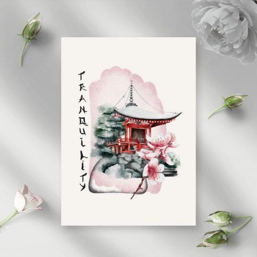 Różowy plakat z pagodą do oprawienia w ramę