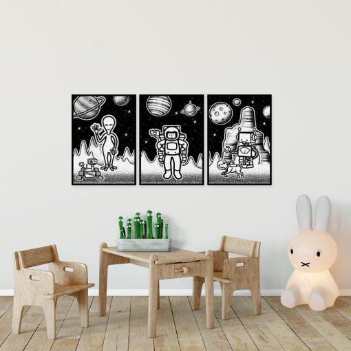 Tryptyk plakatowy z kosmosem do oprawienia w ramy